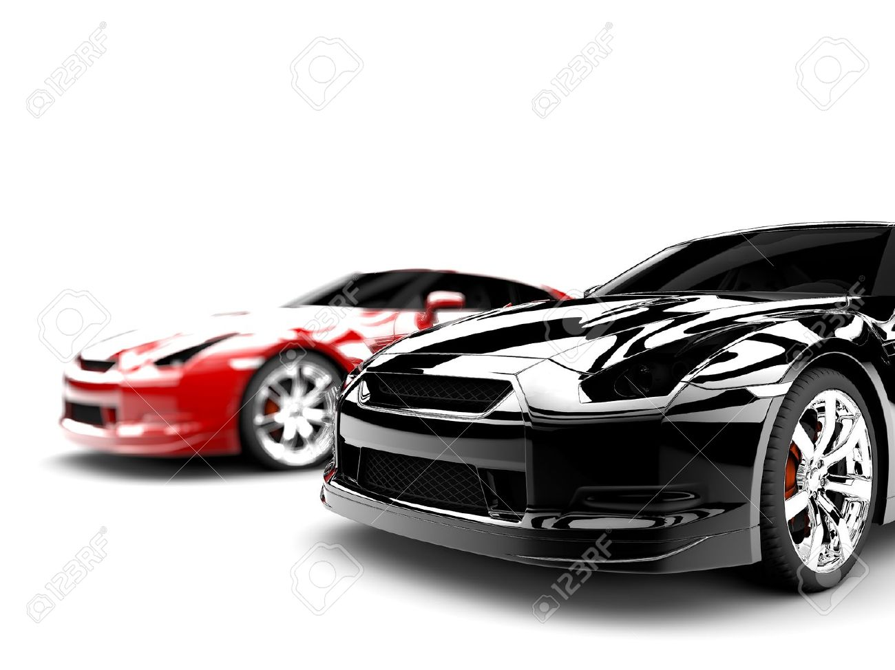 two generic sport elegant cars one red and one black stock photo