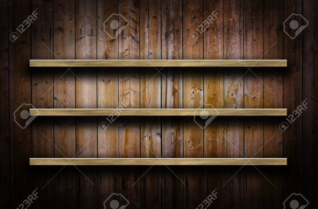 Old grunge wood panels used as background with shelves Stock Photo - 16212718