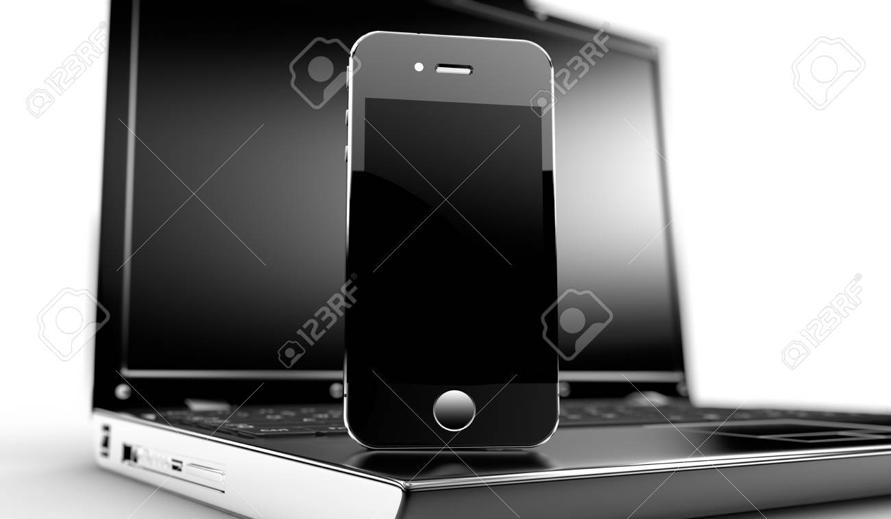 Close up of a laptop with a phone on it Stock Photo - 17598731
