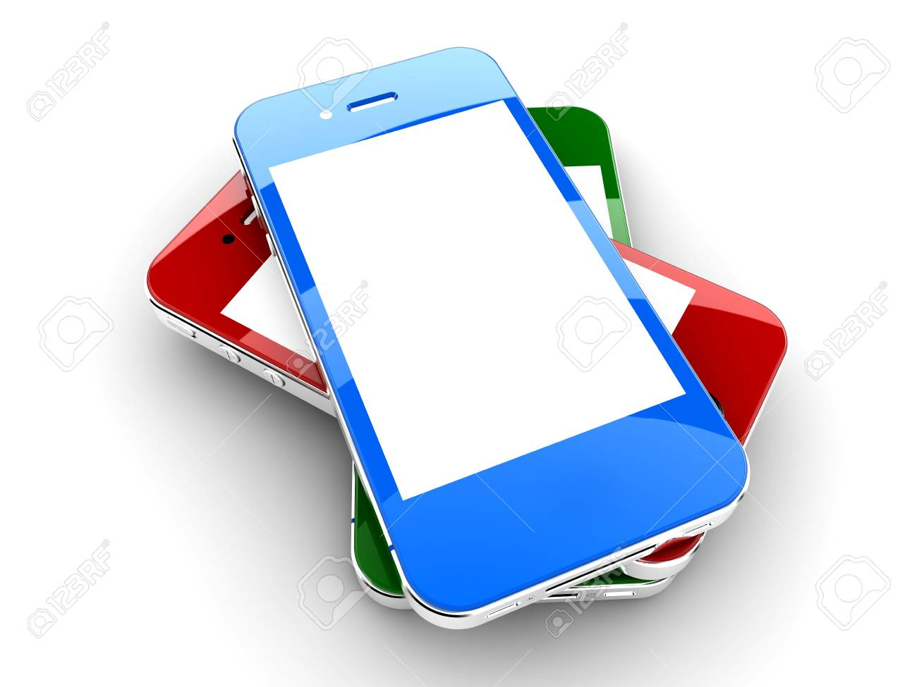 Three colored smartphones isolated on a white background with white copyspace on screen Stock Photo - 17990396