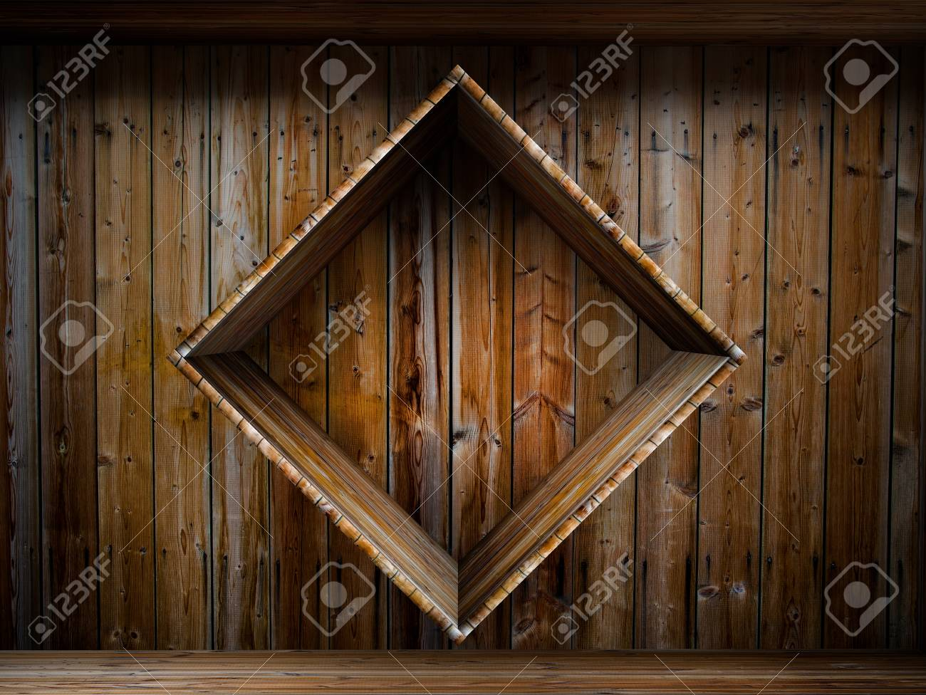 3D empty wood shelf  grunge interior for your objects Stock Photo - 17990905