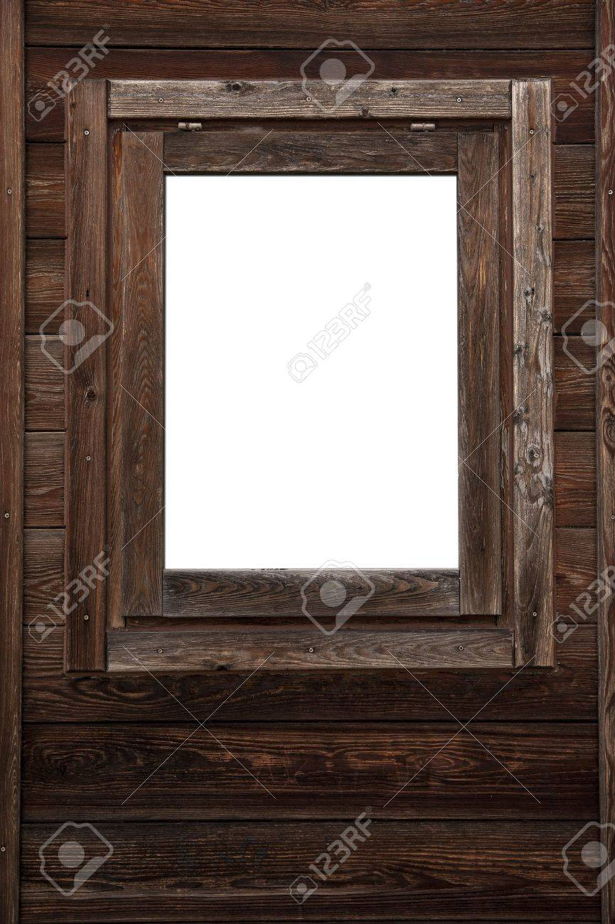 Wood window wall with square white copyspace Stock Photo - 19421035