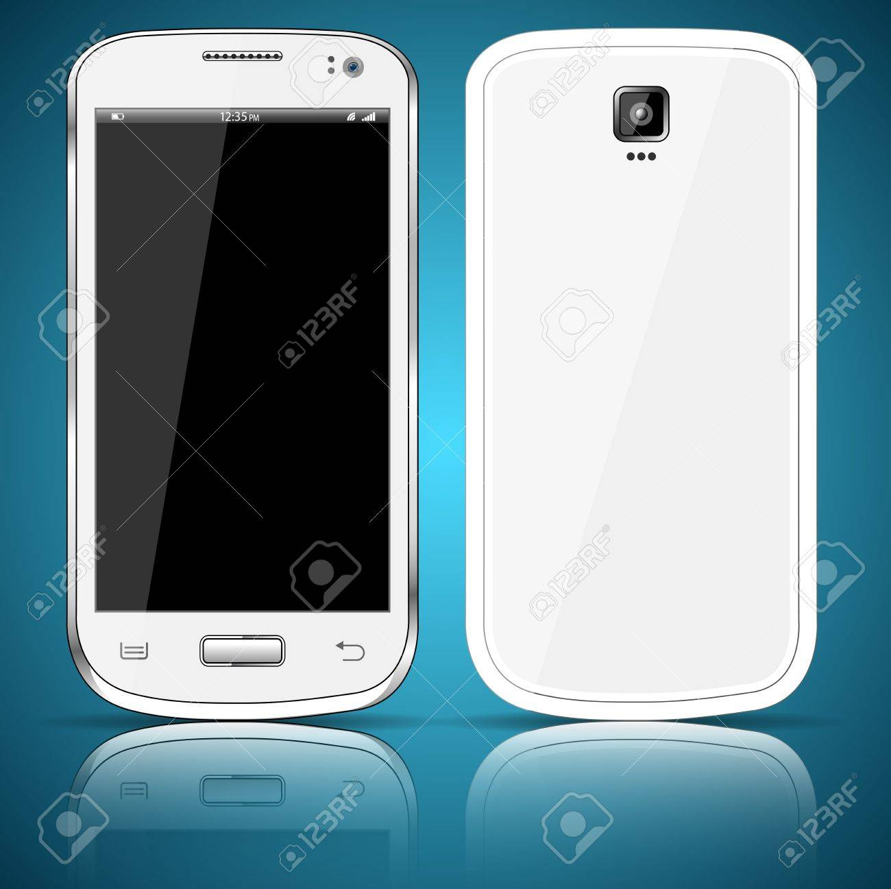 Front and back of a white smartphone Stock Vector - 20379960