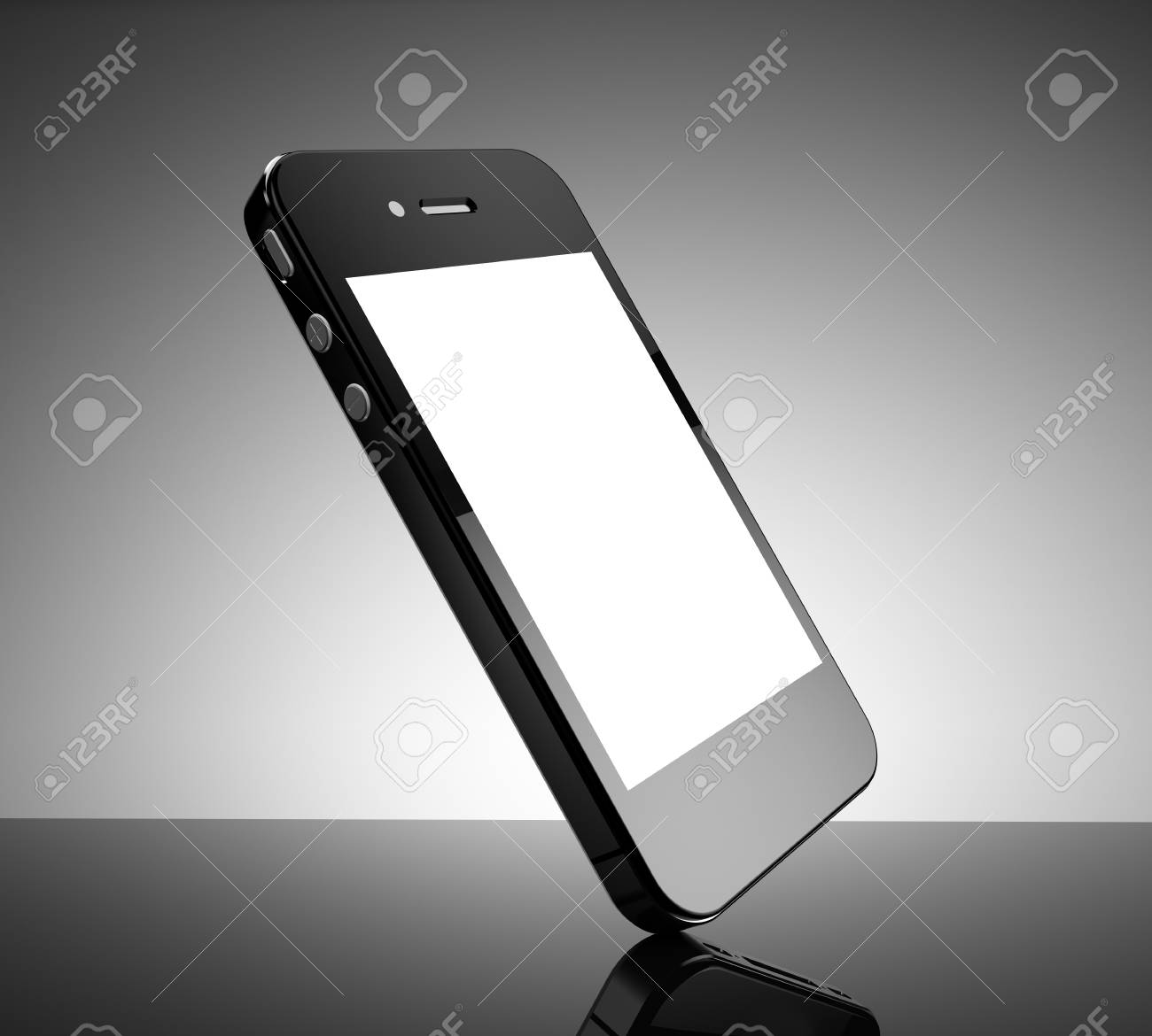 Realistic black smartphone with a white screen Stock Photo - 21352652