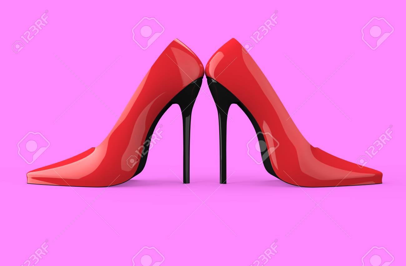 Chaussures Femme Talon Haut Rouge Isolés
