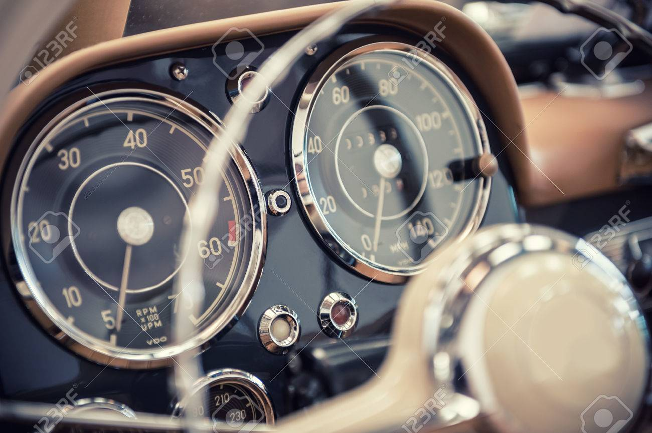 Close Up On A Dashboard Of A Vintage Car Stock Photo, Picture And ...