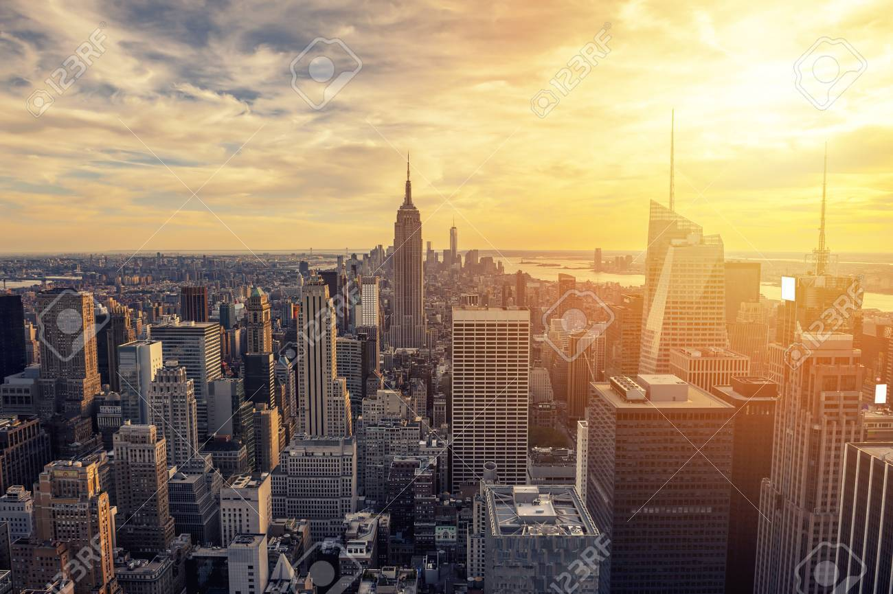New York City Skyline With Urban Skyscrapers At Sunset. Stock Photo ...