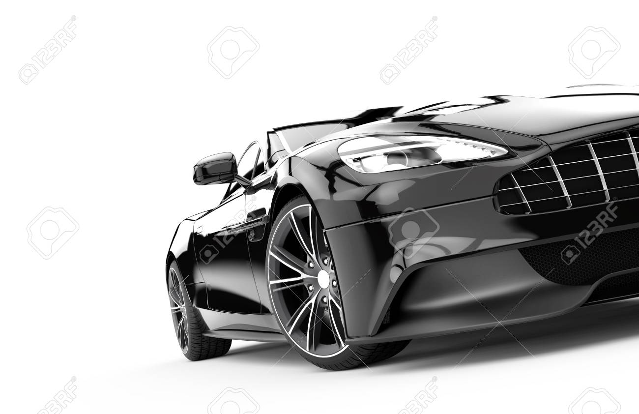 Front Of A Black Sport Car Isolated On A White Background Isolated On A White  Background