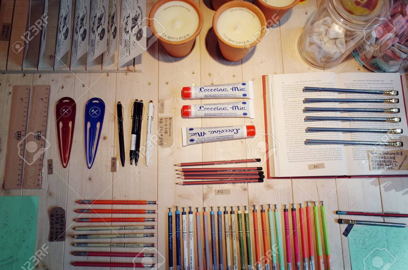 Stationery on wooden table - 57959661