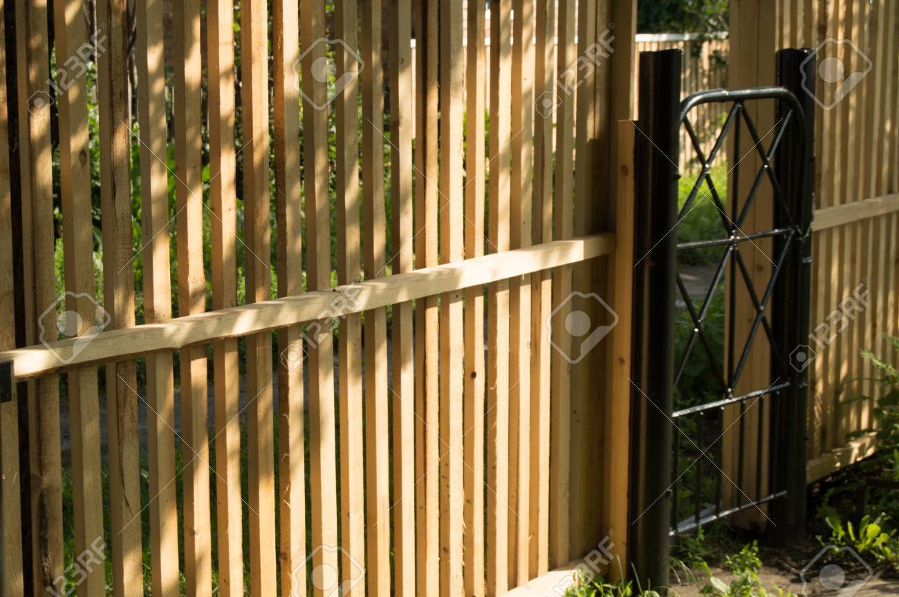 New Picket Fence And Black Metal Gate For Protection And Safety ...
