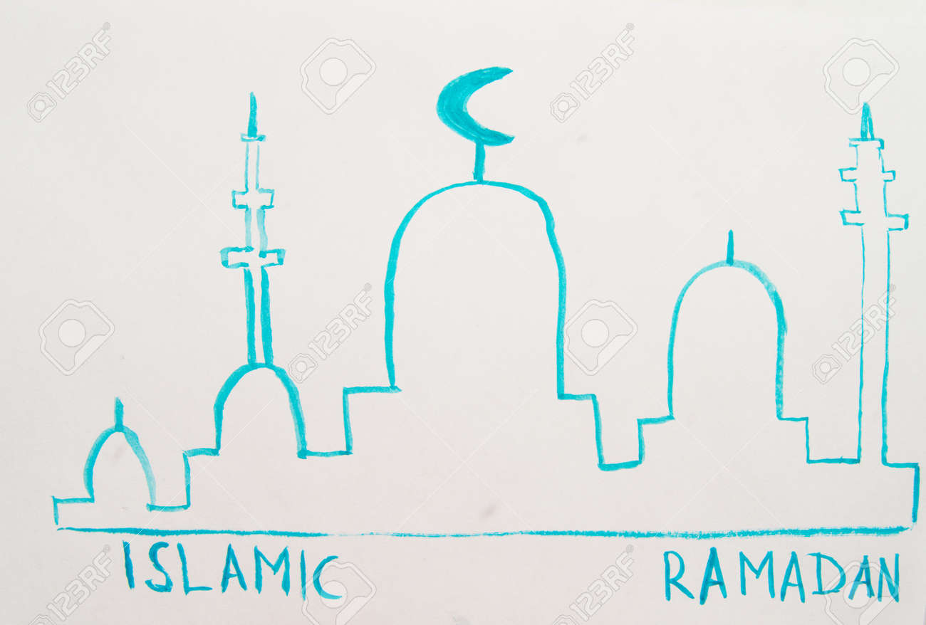 Watercolor drawing silhouette of a mosque, minarets simple children's illustration with the text Ramadan Kareem. - 167897515