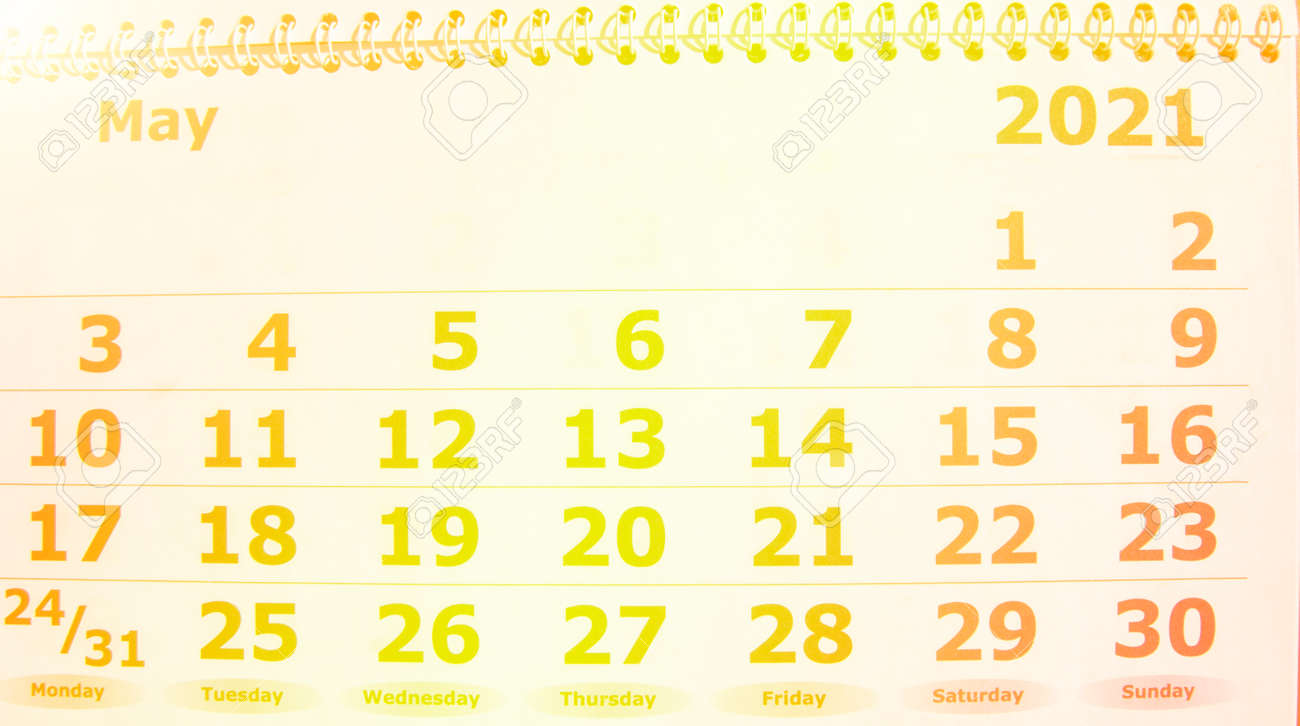 May 2021 calendar with spiral, sunlight, light and tinting - 168250931
