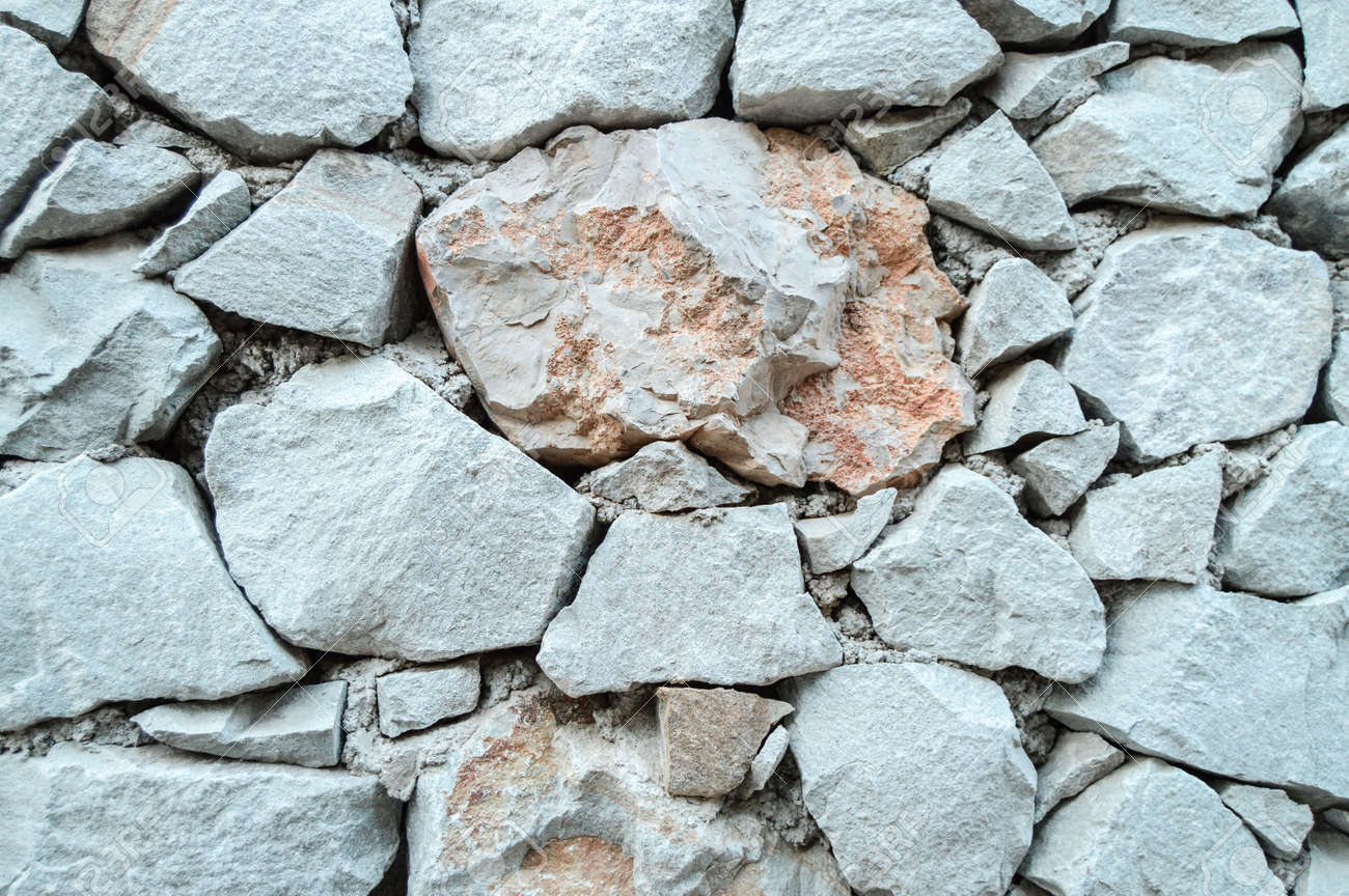 Stone wall background texture, grey rough stone - 168250935