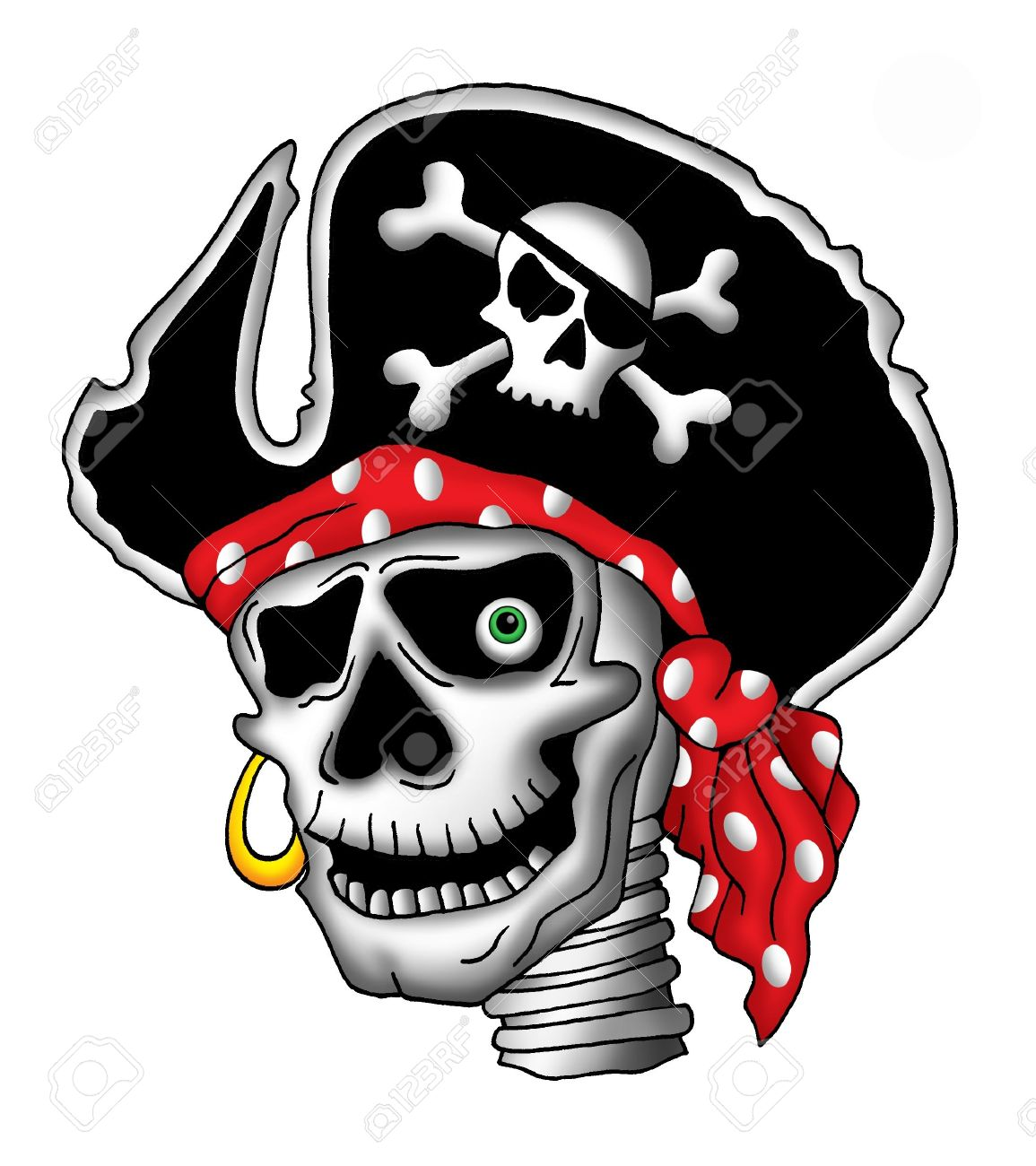 Color Ilustración De Calavera Pirata En El Sombrero Fotos Retratos