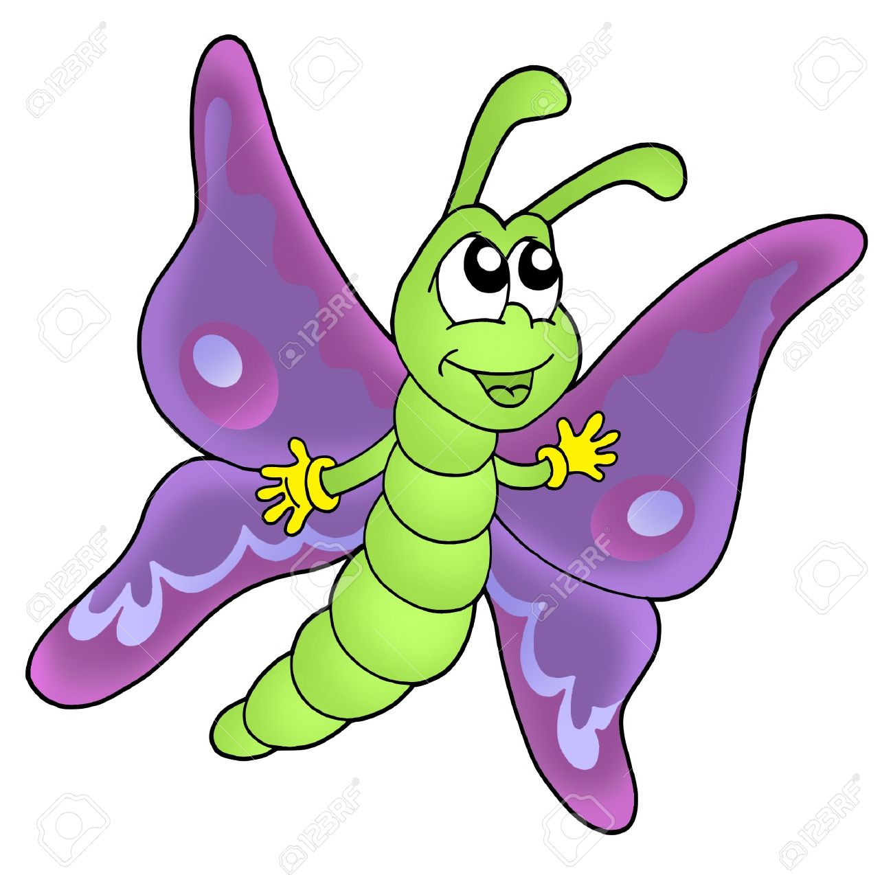cute purple butterfly color illustration stock photo picture