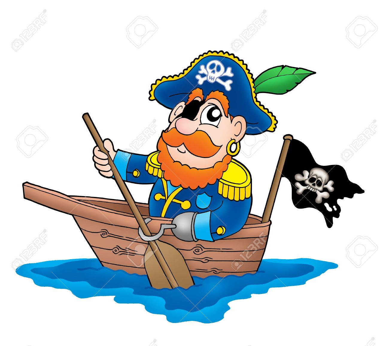Pirate In The Boat Color Illustration Stock Photo Picture And