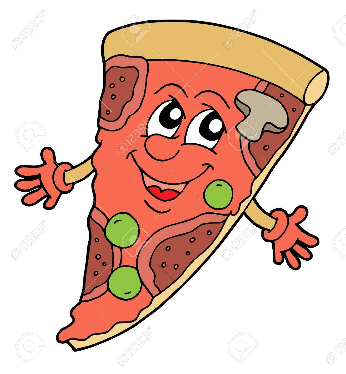 Royalty Free Smiling Pizza Slice Logo by Seamartini Graphics - #4318