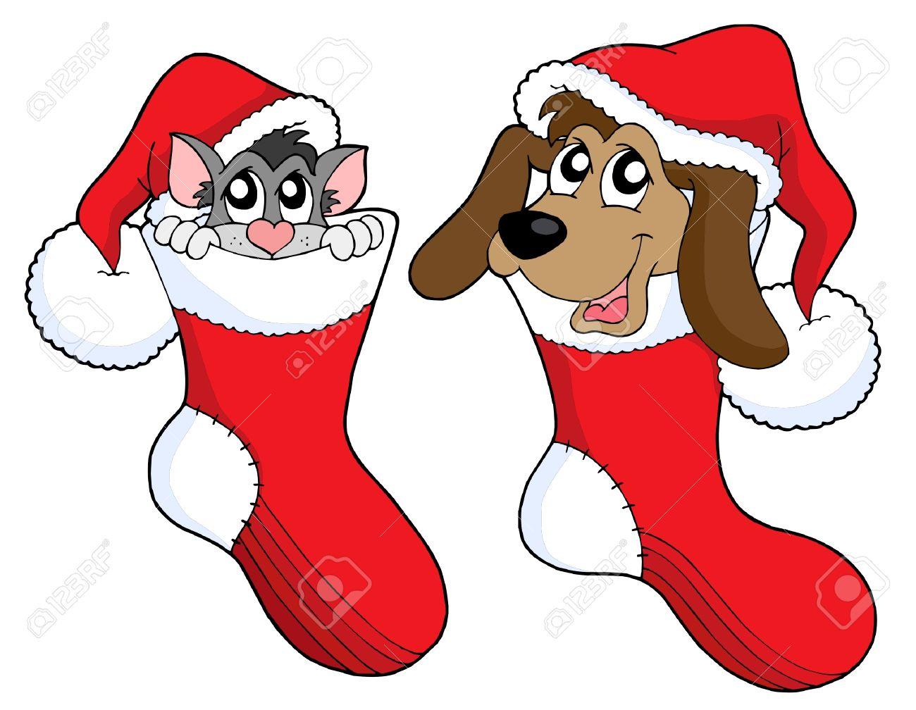 Hübsch Katze Und Hund In Weihnachten Socken - Vektor-Illustration ...