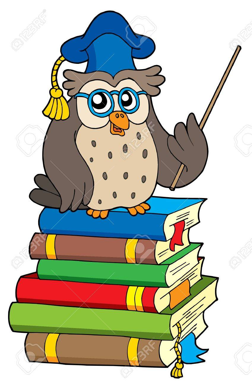 Owl teacher and books - vector illustration. Stock Vector - 3361858