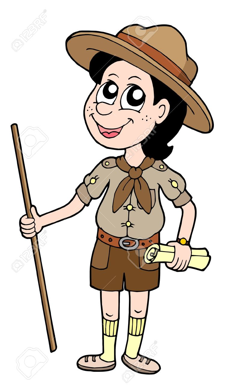 Boy scout with walking stick - vector illustration. - 3383951