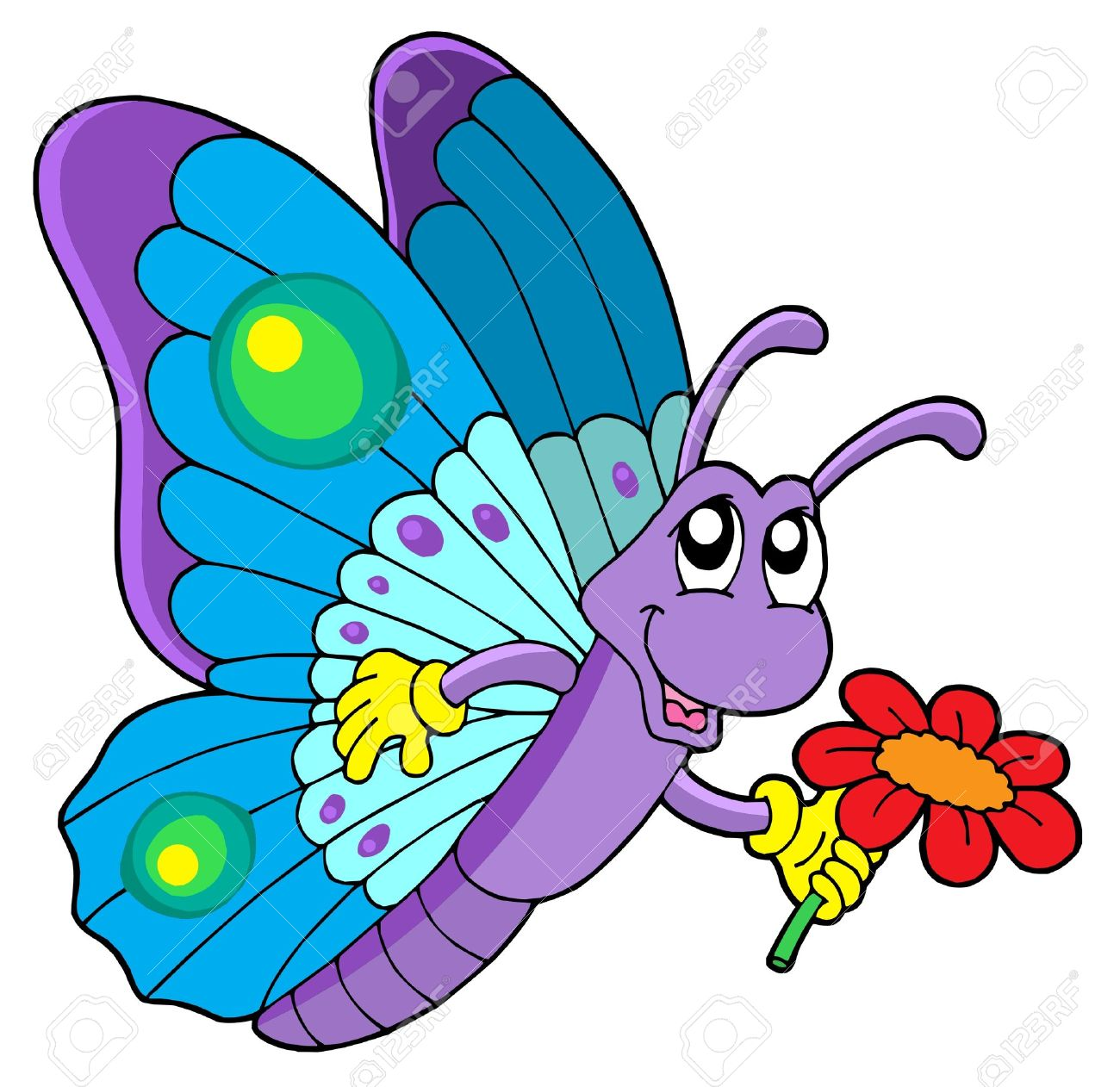 Cute butterfly holding flower - vector illustration. Stock Vector - 3394947