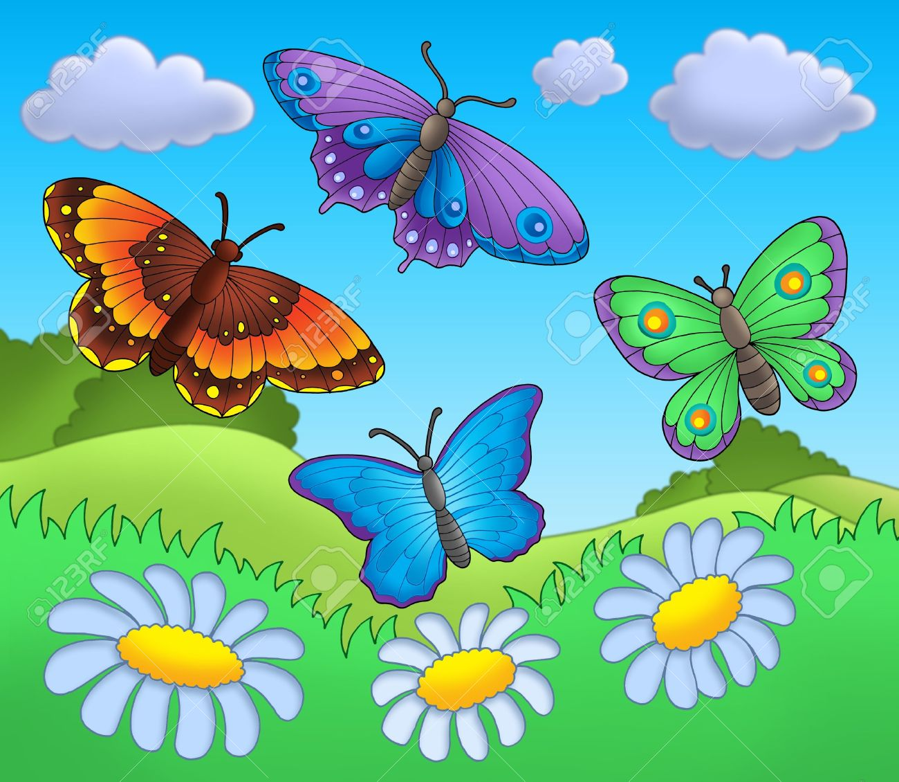 butterflies on meadow color illustration stock photo picture