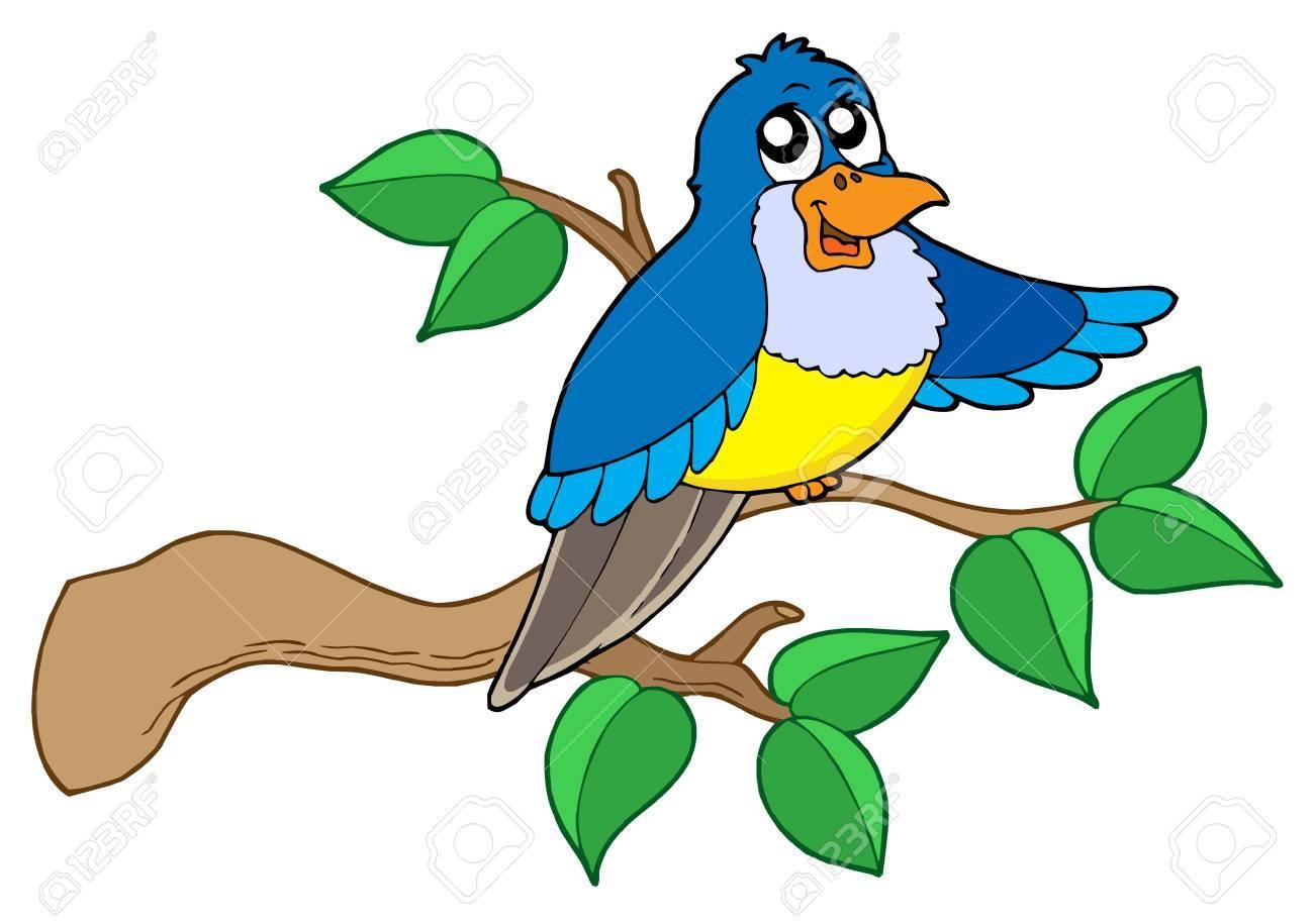 Blue bird sitting on branch - vector illustration. Stock Vector - 3407481