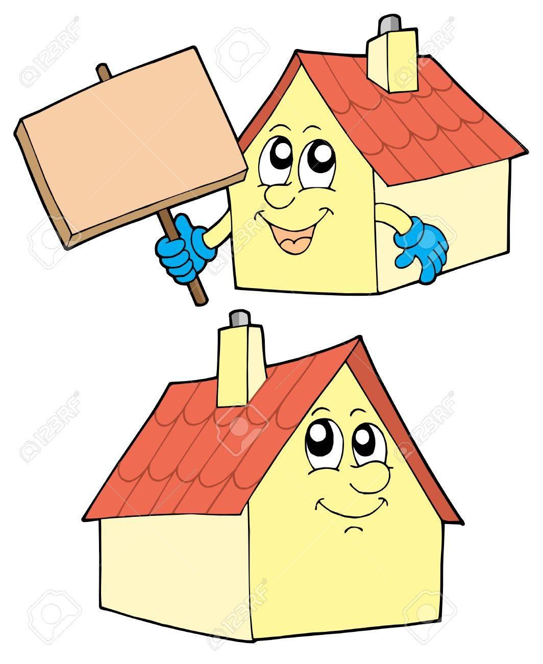 Cute Häuser Auf Weißen Hintergrund   Vektor Illustration. Standard Bild    3407491
