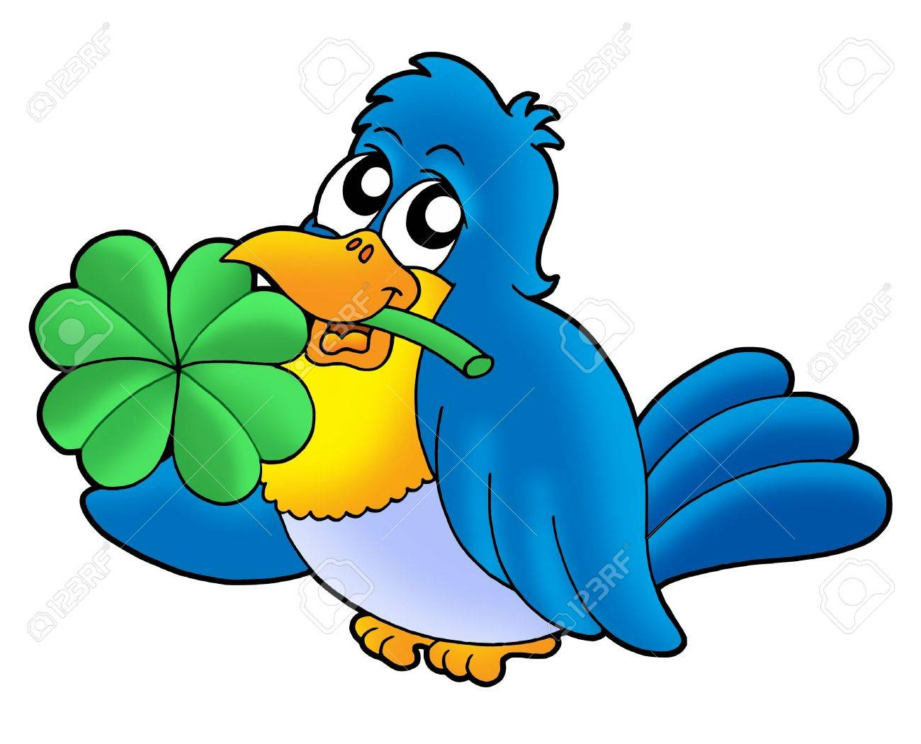Bird with four leaves clover - color illustration. Stock Illustration - 3446286
