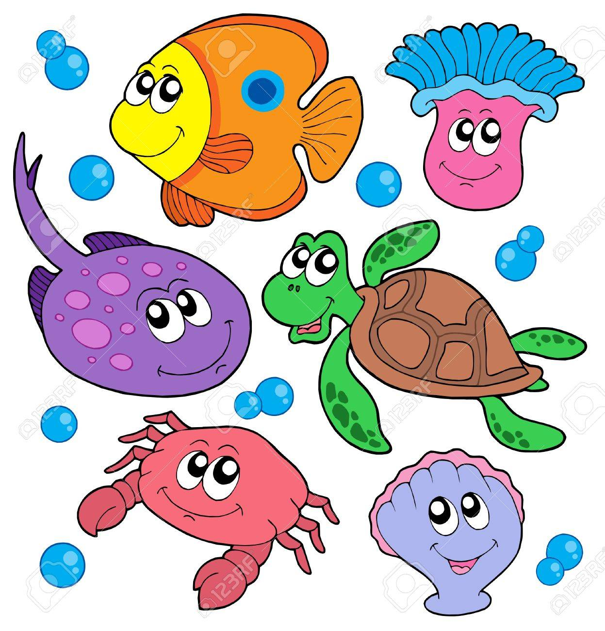Cute marine animals collection - vector illustration. Stock Vector - 3466083