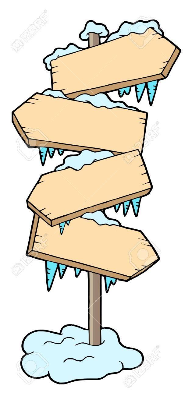 Frozen wood sign - vector illustration. Stock Vector - 3571272
