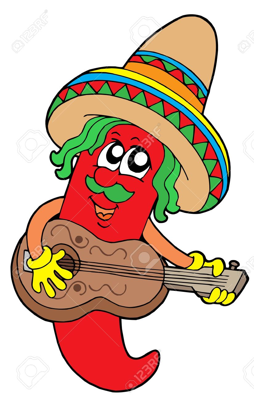 Mexican chilli guitar player - vector illustration. Stock Vector - 3615788
