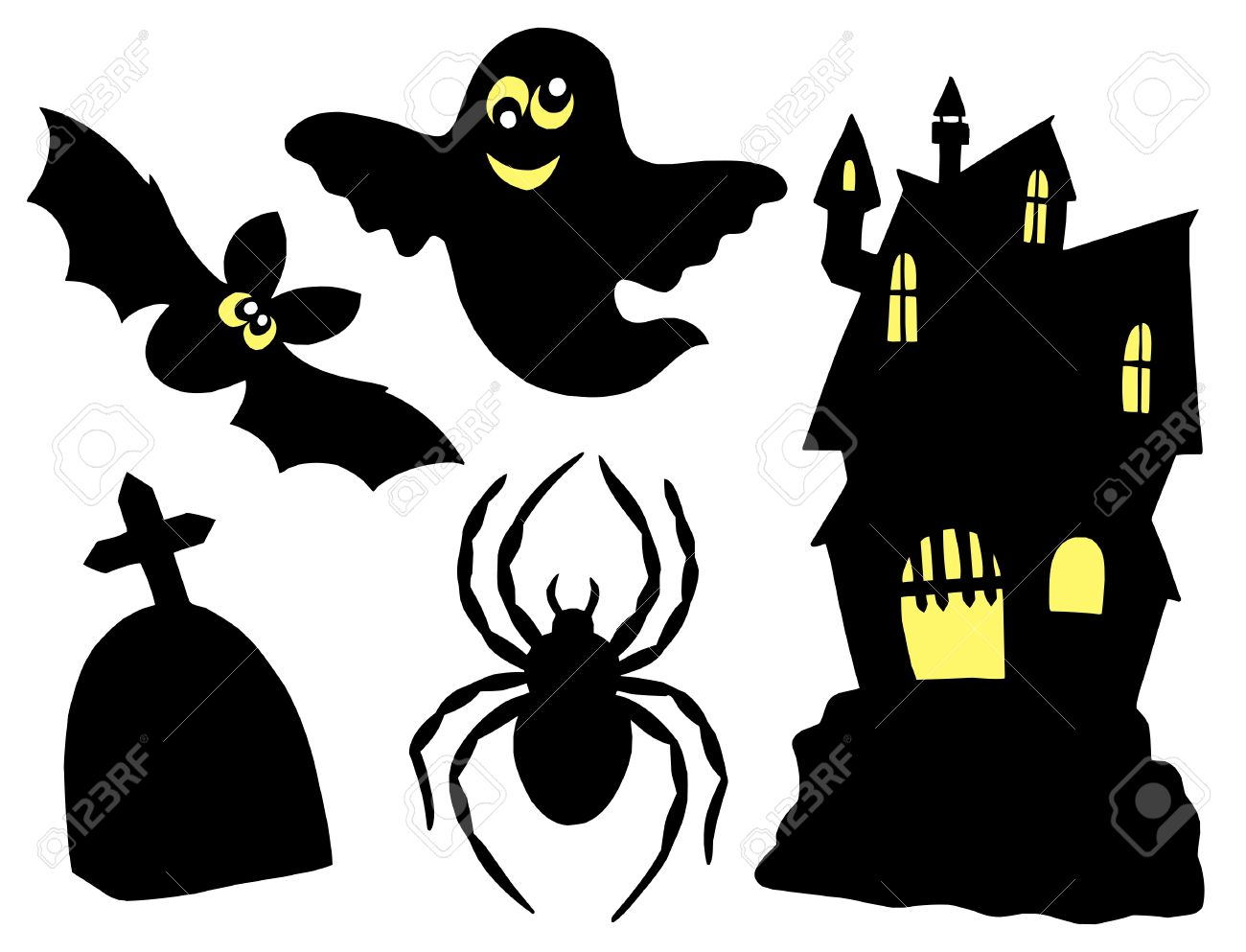 halloween silhouettes collection vector illustration royalty free rh 123rf com halloween vectors free halloween vector patterns