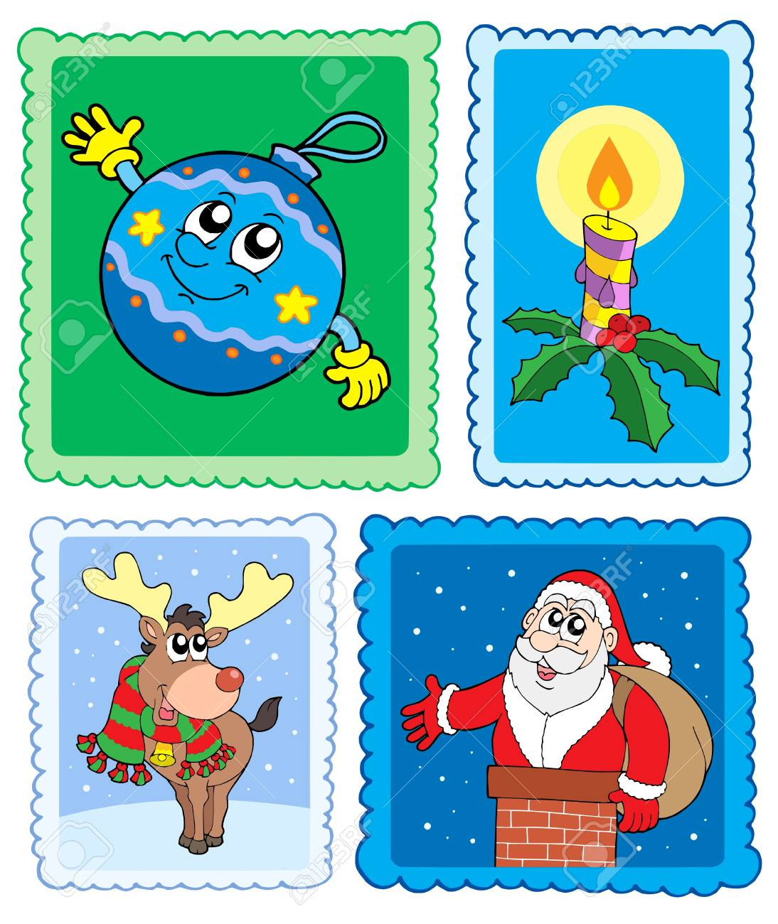 Christmas post stamps collection - vector illustration. Stock Vector - 3798921