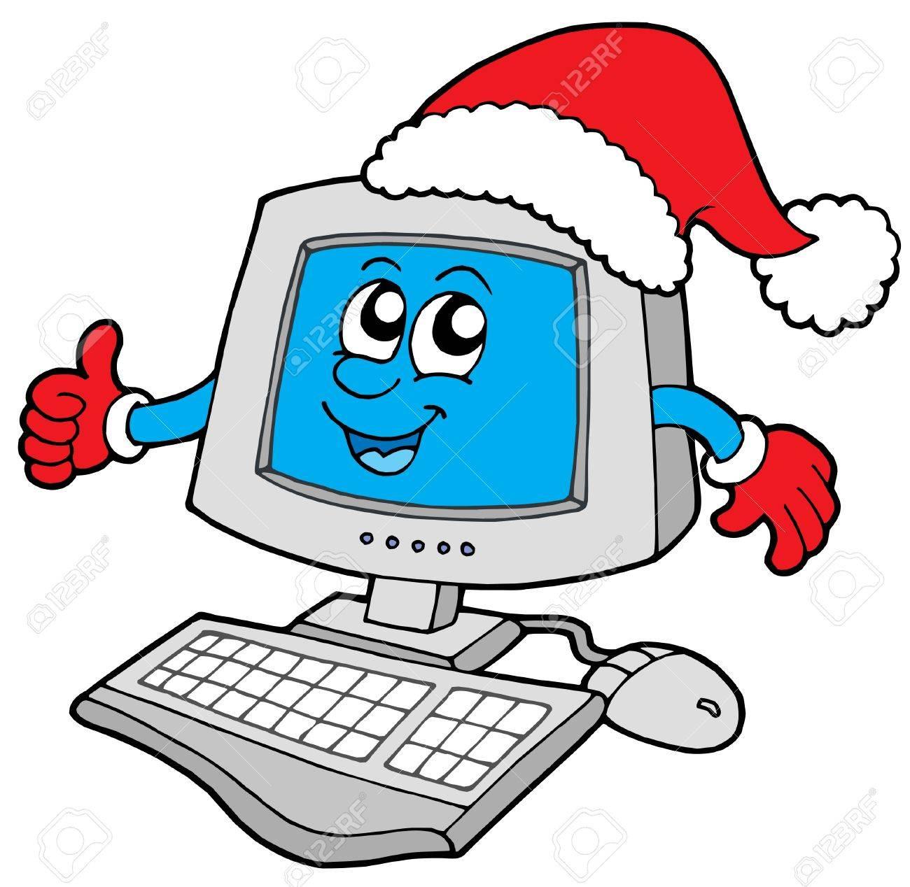 Christmas smiling computer - vector illustration. Stock Vector - 3853037