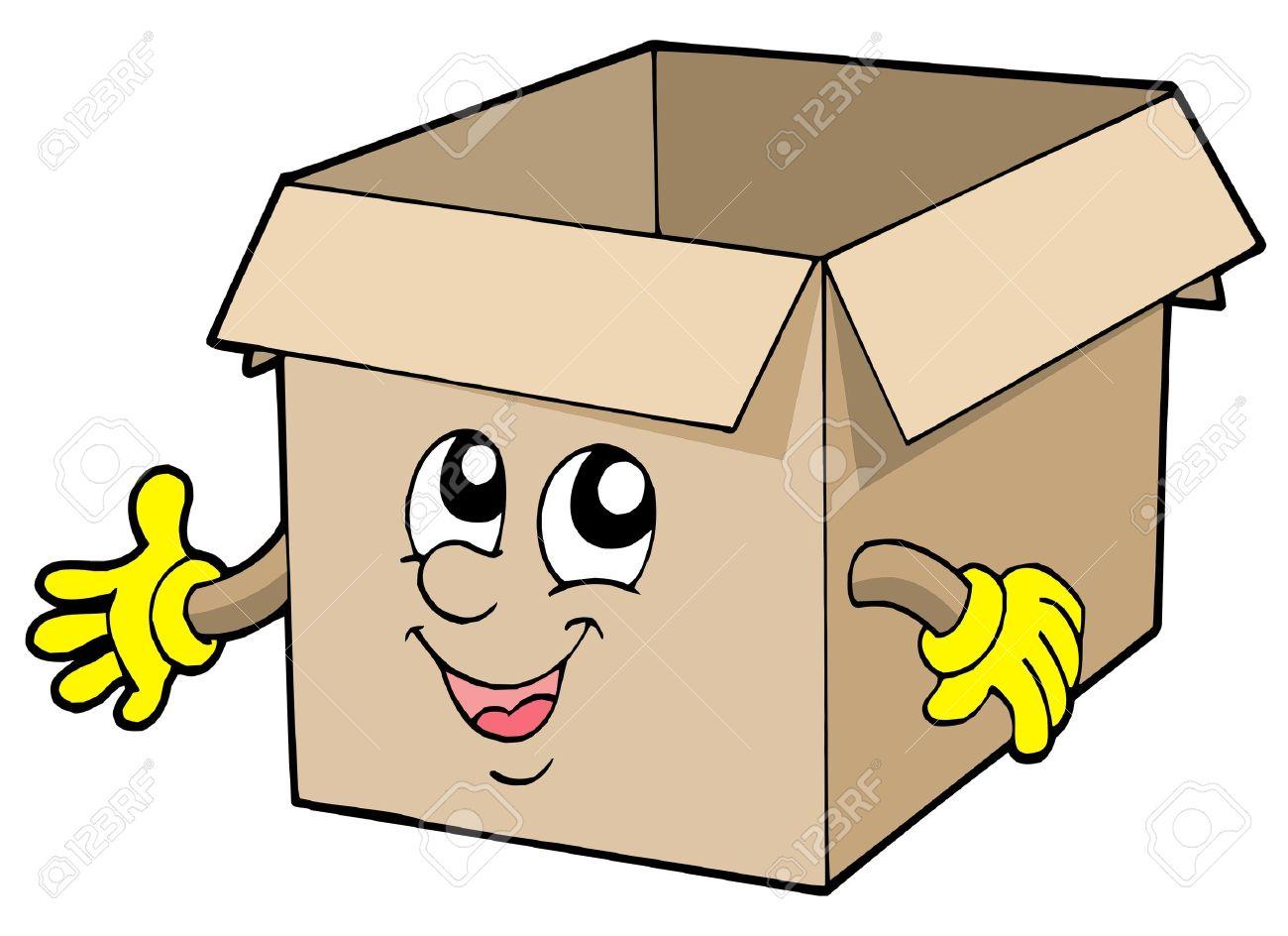 Open cute cardboard box - vector illustration. Stock Vector - 3952973