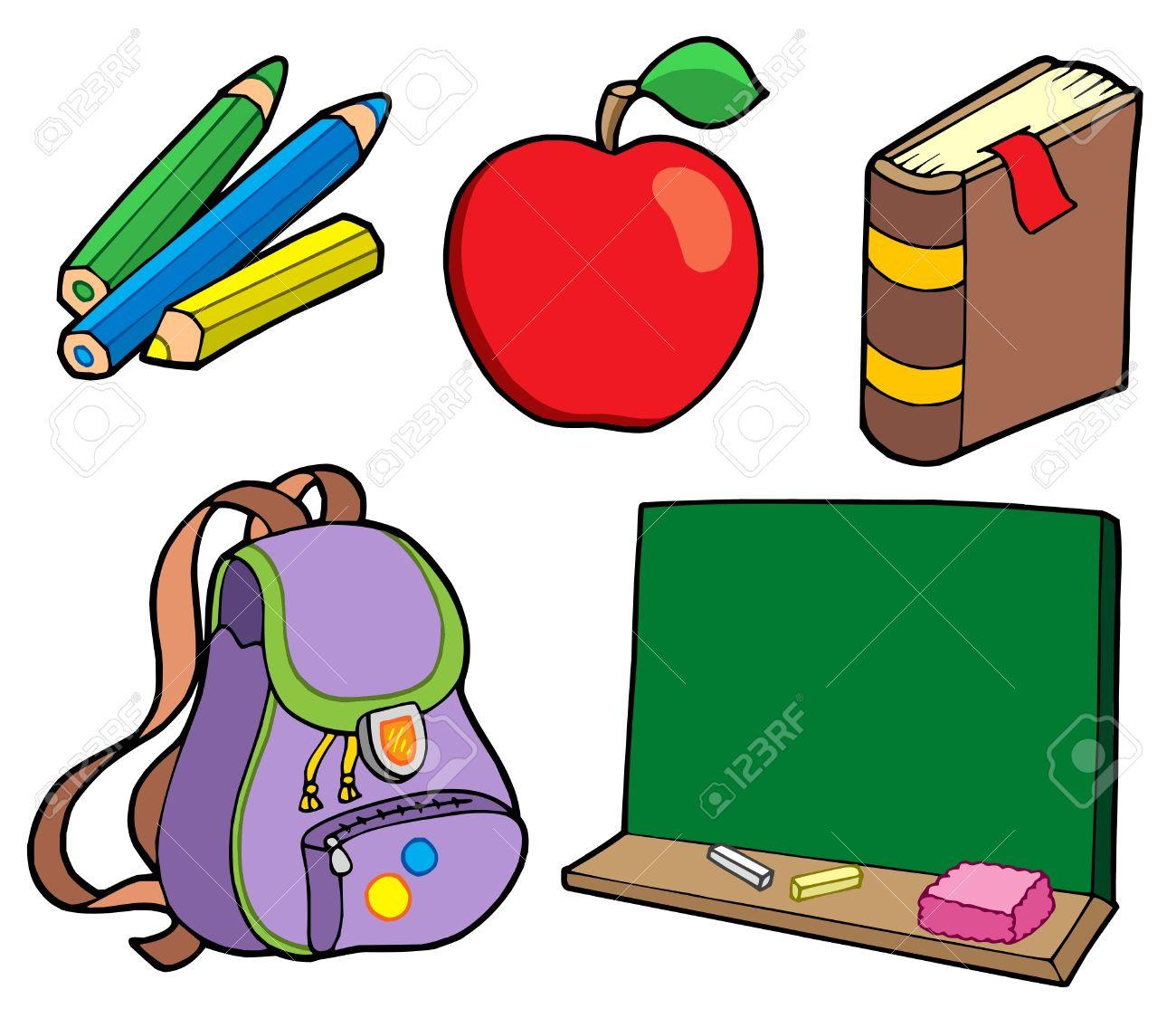 Coloring book bag - Book Bag Various School Items Vector Illustration