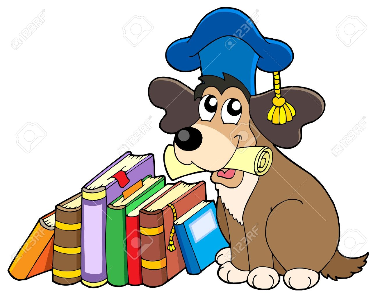 dog teacher with books - vector illustration. royalty free
