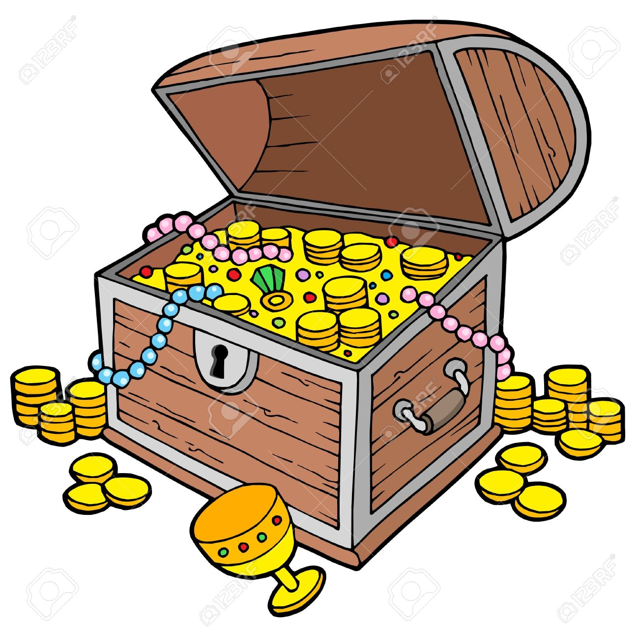 open treasure chest vector illustration royalty free cliparts rh 123rf com treasure chests clip art