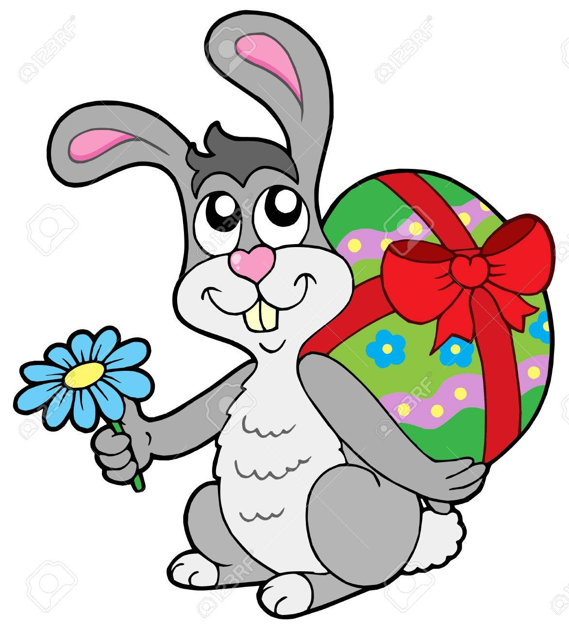 Small Easter bunny with egg - vector illustration. Standard-Bild - 4215709