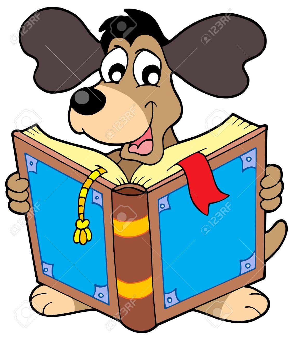 Dog reading book - vector illustration. Stock Vector - 4369089