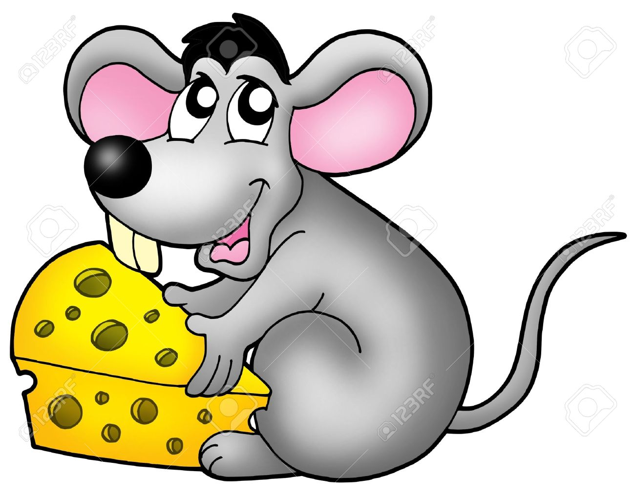 cute mouse holding cheese color illustration stock illustration 4422350