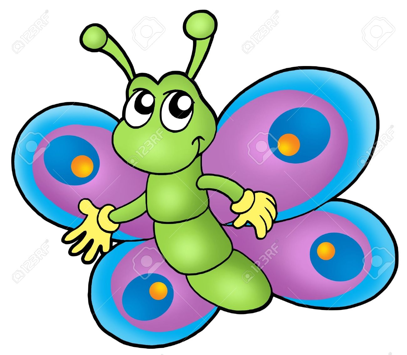 Small Cartoon Butterfly - Color Illustration. Stock Photo, Picture ...