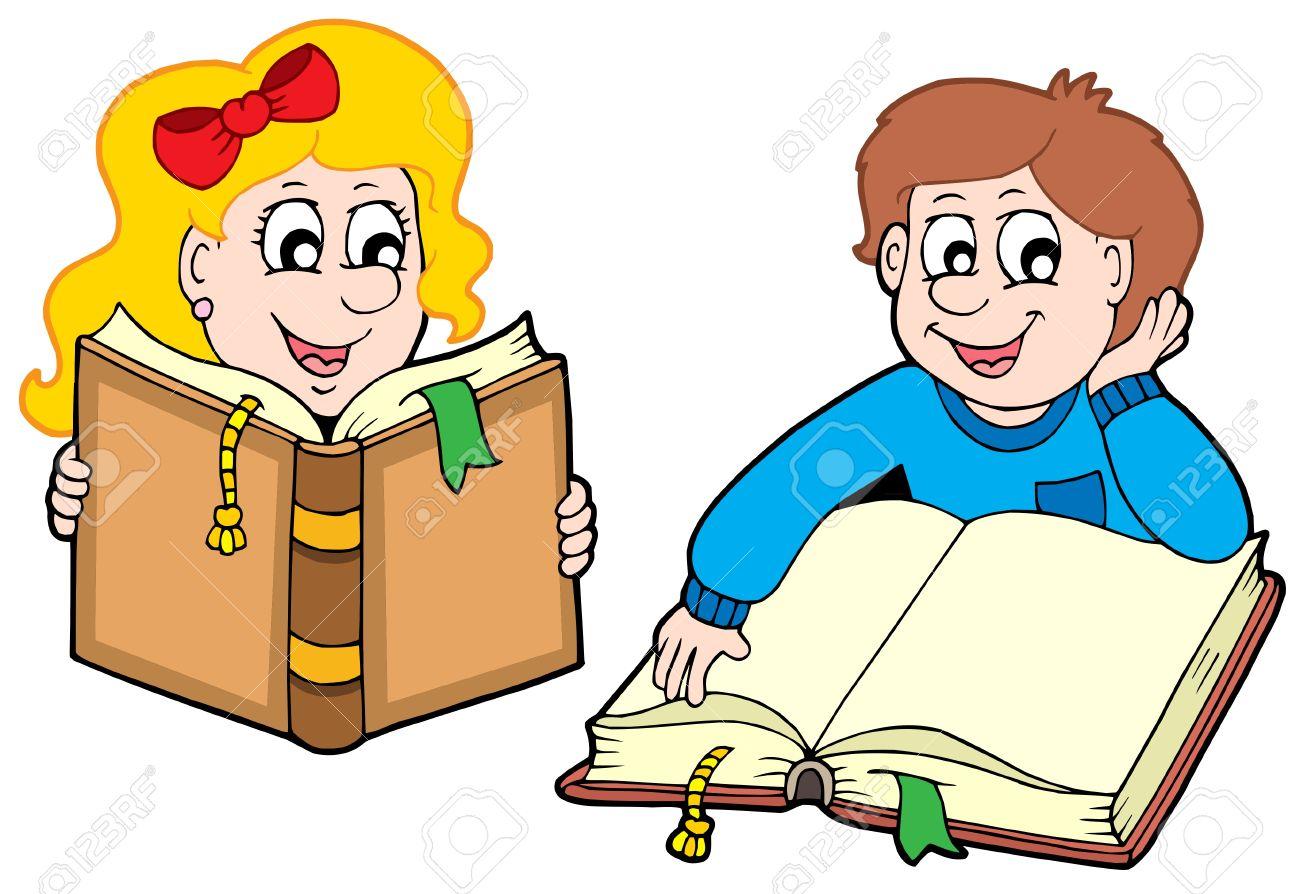 Reading boy and girl - vector illustration. Stock Vector - 4458912