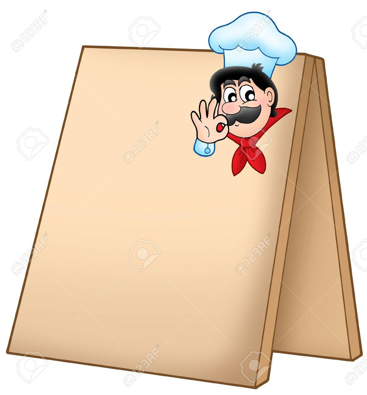 Menu board with cartoon chef - color illustration. Stock Illustration - 4477159