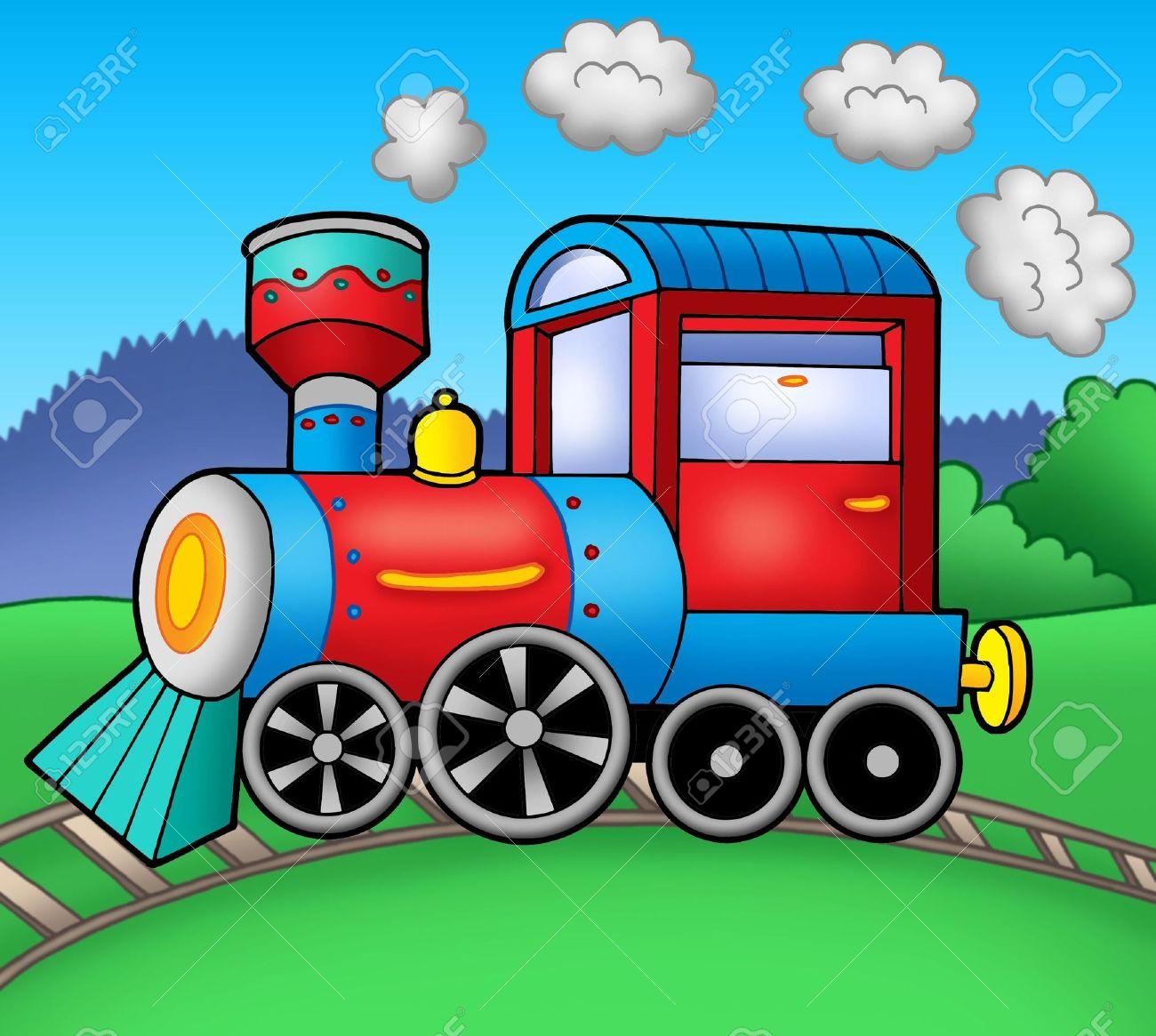 Locomotive A Vapeur Sur Les Rails Couleur Illustration Banque D