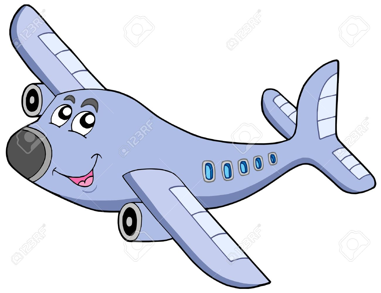 Cartoon Airplane On White Backgroud