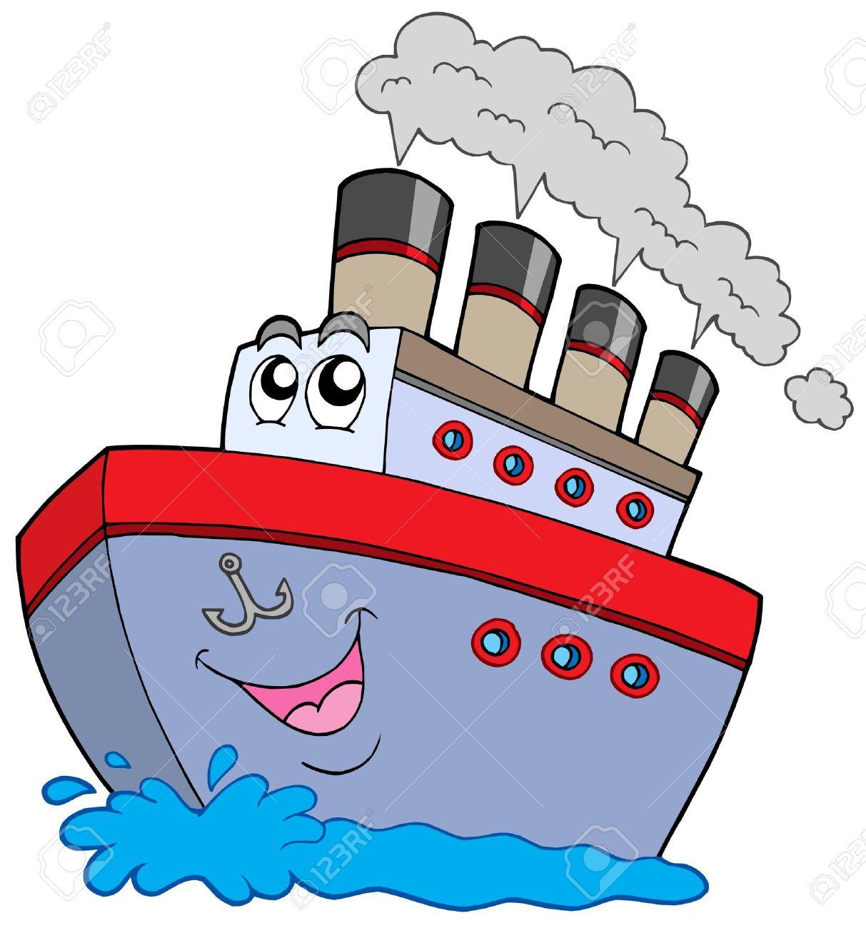 Caricatura Barco En El Fondo Blanco Ilustración Vectorial