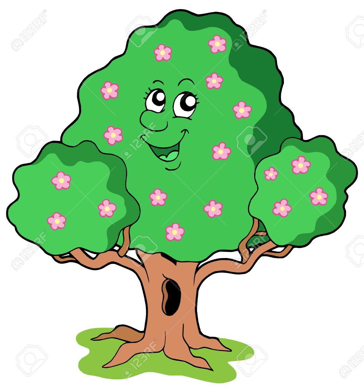 Spring tree in bloom - vector illustration. - 4574132