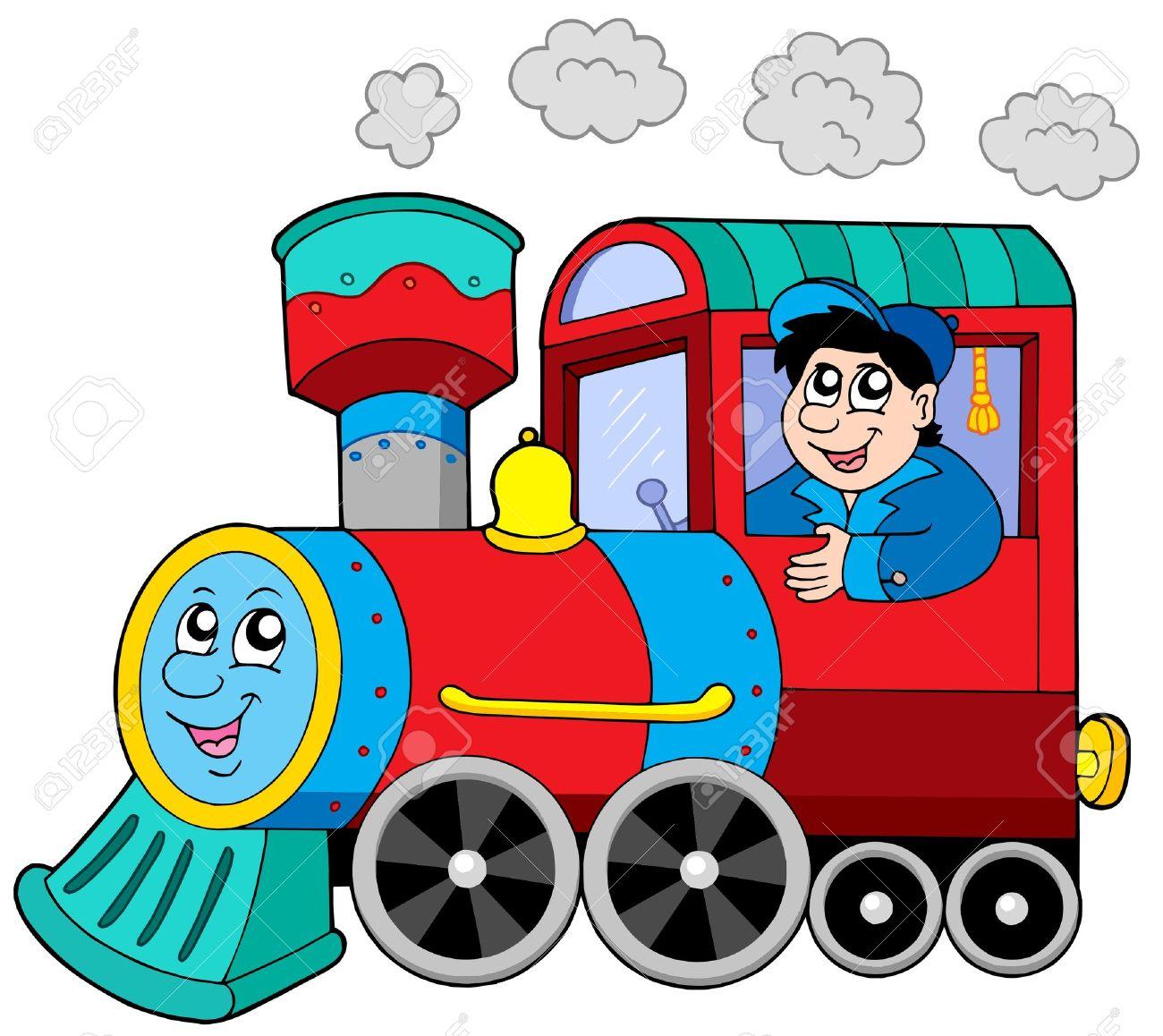 Locomotora A Vapor Con El Motor Conductor - Ilustración Vectorial ...